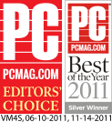 PC Magazine Editor's Choice and Best of Year two thousand and eleven awards